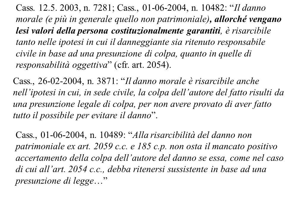 Cass. 12.5. 2003, n. 7281; Cass., 01-06-2004, n. 10482: Il danno morale (e più in generale quello non patrimoniale), allorché vengano lesi valori dell