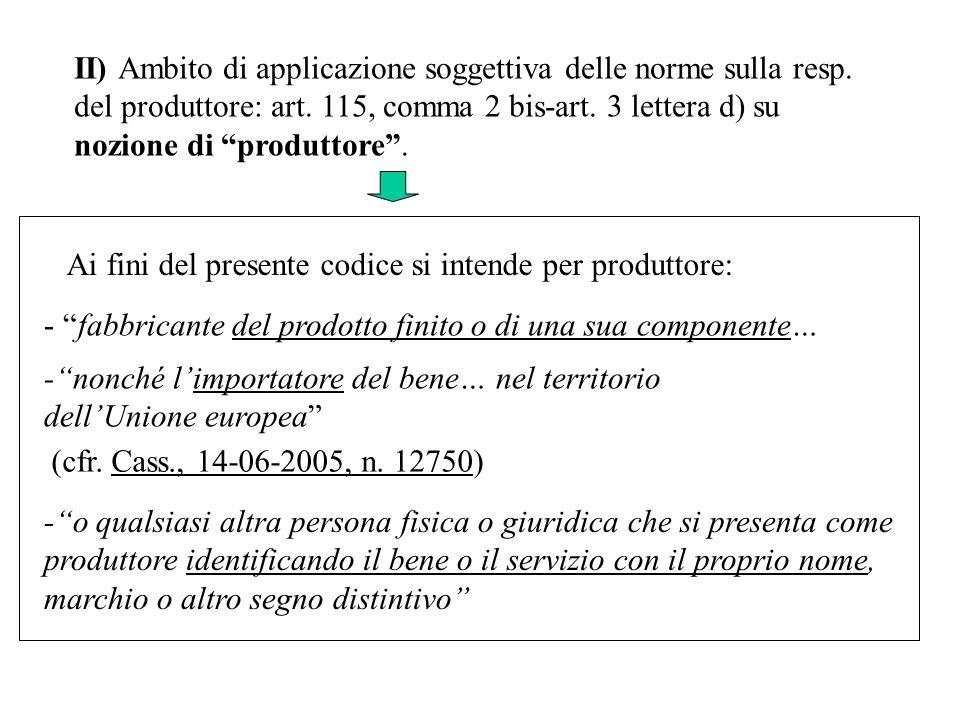II) Ambito di applicazione soggettiva delle norme sulla resp. del produttore: art. 115, comma 2 bis-art. 3 lettera d) su nozione di produttore. Ai fin