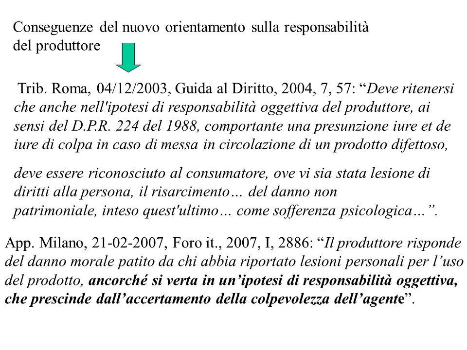 Trib. Roma, 04/12/2003, Guida al Diritto, 2004, 7, 57: Deve ritenersi che anche nell'ipotesi di responsabilità oggettiva del produttore, ai sensi del