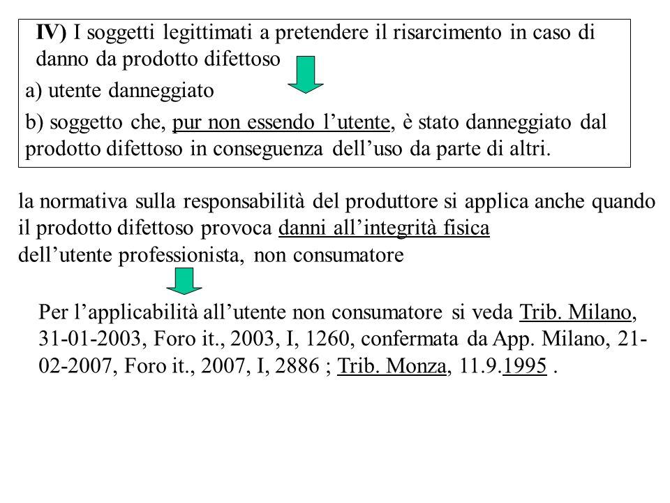 IV) I soggetti legittimati a pretendere il risarcimento in caso di danno da prodotto difettoso a) utente danneggiato la normativa sulla responsabilità