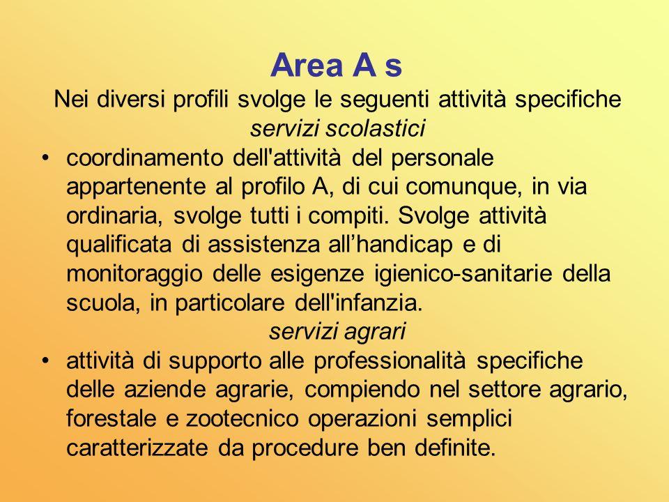 Area A Esegue, nell ambito di specifiche istruzioni e con responsabilità connessa alla corretta esecuzione del proprio lavoro, attività caratterizzata da procedure ben definite che richiedono preparazione non specialistica.