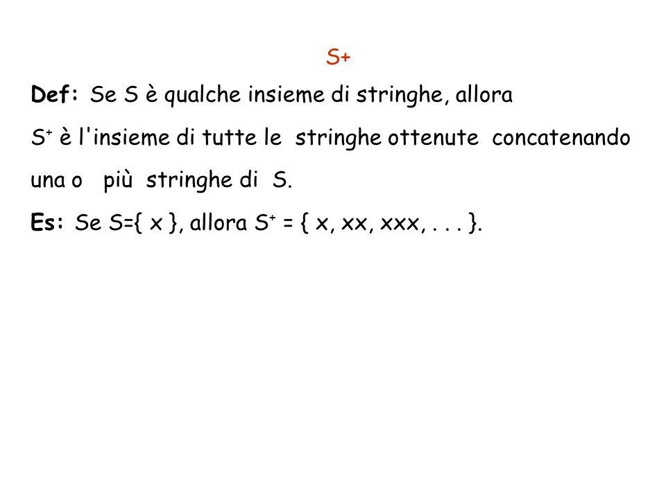 S+ Def: Se S è qualche insieme di stringhe, allora S + è l'insieme di tutte le stringhe ottenute concatenando una o più stringhe di S. Es: Se S={ x },
