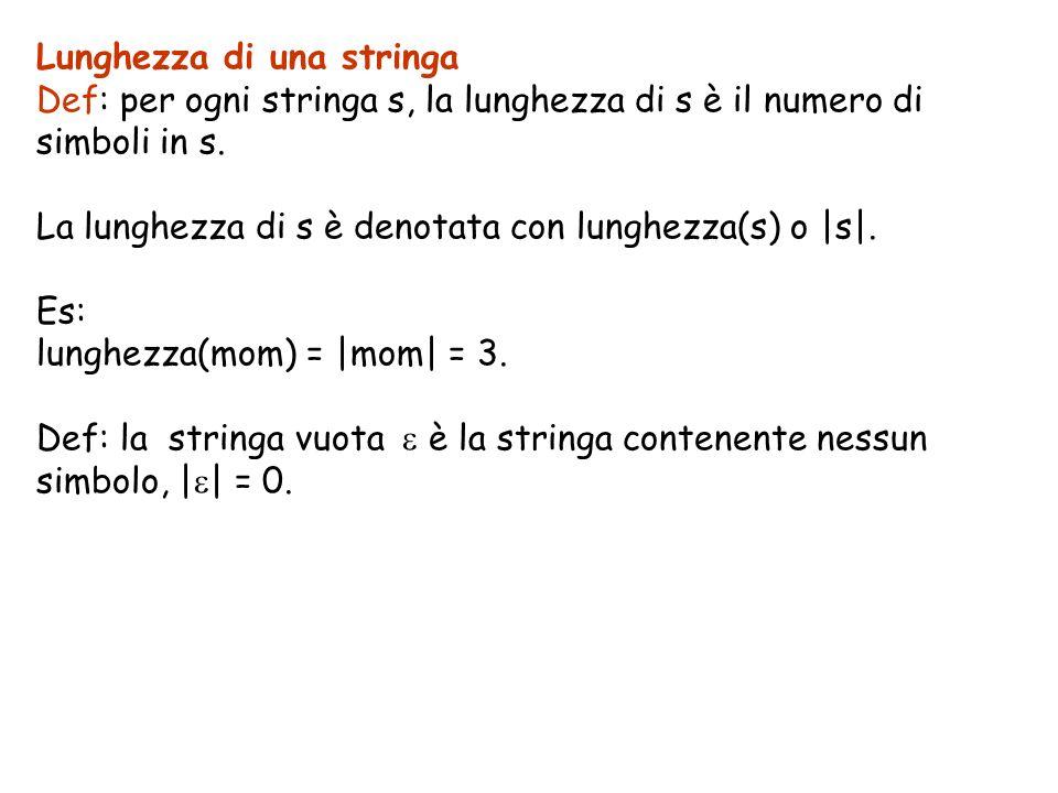 Lunghezza di una stringa Def: per ogni stringa s, la lunghezza di s è il numero di simboli in s. La lunghezza di s è denotata con lunghezza(s) o |s|.