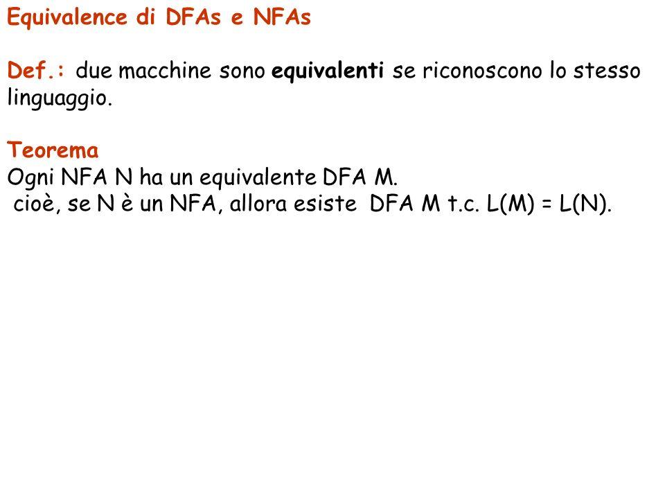 Equivalence di DFAs e NFAs Def.: due macchine sono equivalenti se riconoscono lo stesso linguaggio. Teorema Ogni NFA N ha un equivalente DFA M. cioè,
