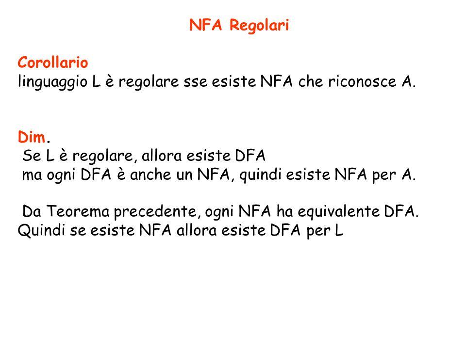 NFA Regolari Corollario linguaggio L è regolare sse esiste NFA che riconosce A. Dim. Se L è regolare, allora esiste DFA ma ogni DFA è anche un NFA, qu