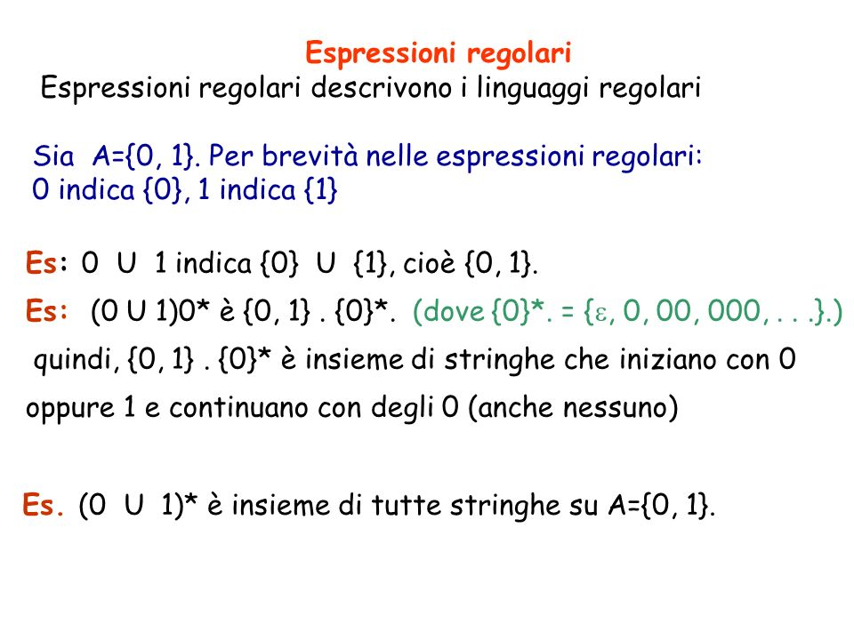 Espressioni regolari Espressioni regolari descrivono i linguaggi regolari Sia A={0, 1}. Per brevità nelle espressioni regolari: 0 indica {0}, 1 indica