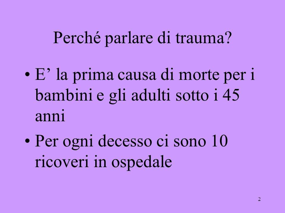 2 Perché parlare di trauma? E la prima causa di morte per i bambini e gli adulti sotto i 45 anni Per ogni decesso ci sono 10 ricoveri in ospedale