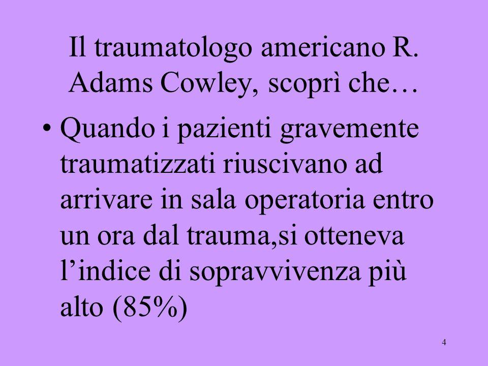 4 Il traumatologo americano R. Adams Cowley, scoprì che… Quando i pazienti gravemente traumatizzati riuscivano ad arrivare in sala operatoria entro un