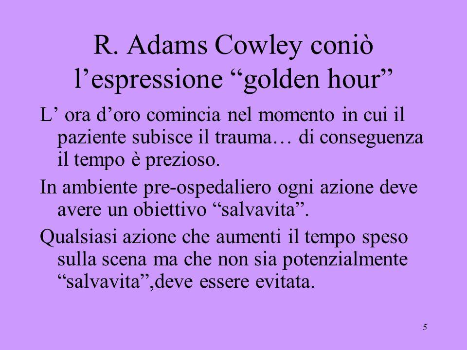 5 R. Adams Cowley coniò lespressione golden hour L ora doro comincia nel momento in cui il paziente subisce il trauma… di conseguenza il tempo è prezi
