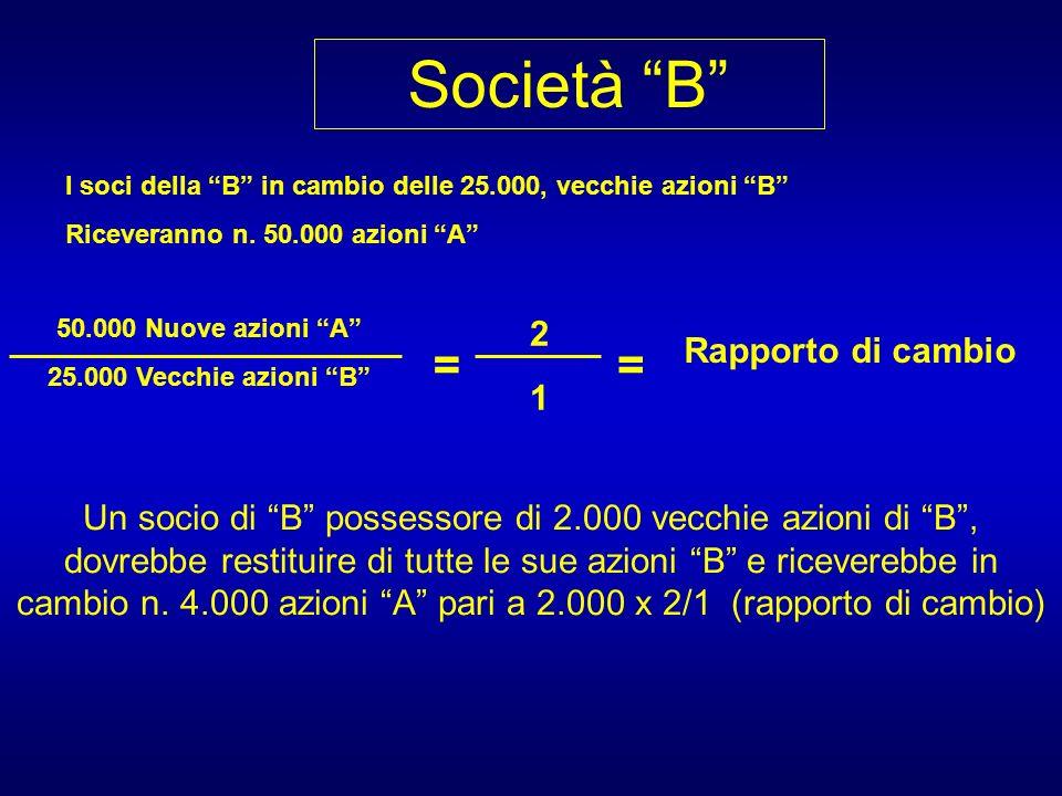 Società B I soci della B in cambio delle 25.000, vecchie azioni B Riceveranno n.