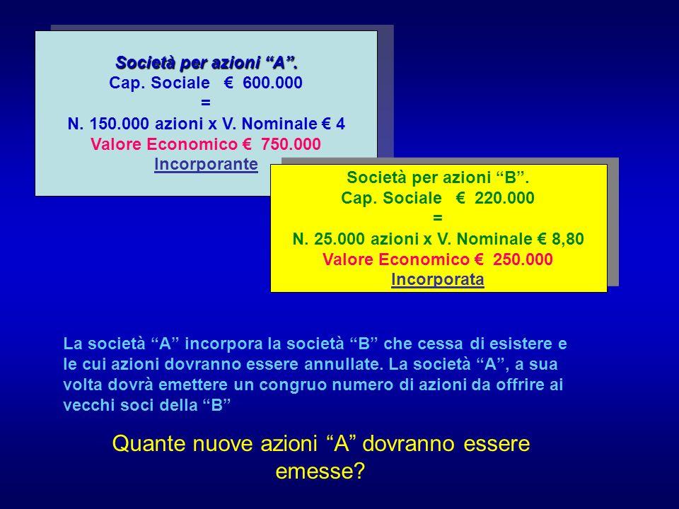 Società per azioni A. Cap. Sociale 600.000 = N. 150.000 azioni x V.