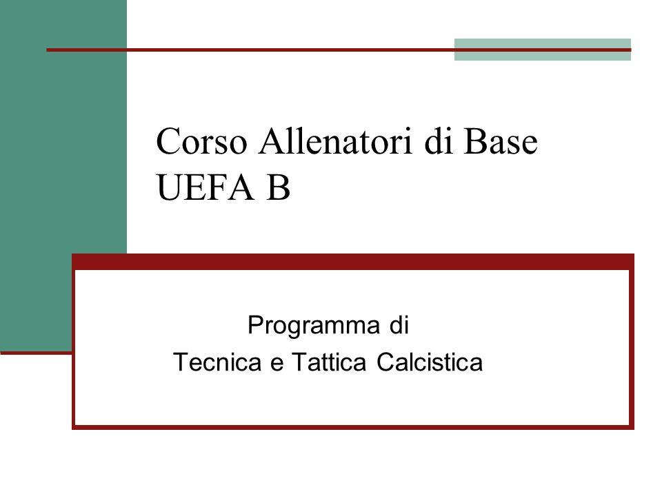 Corso Allenatori di Base UEFA B Programma di Tecnica e Tattica Calcistica