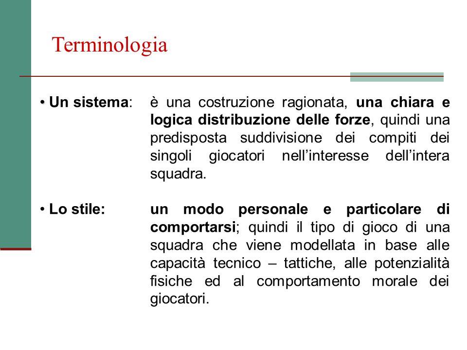 Terminologia Un sistema:è una costruzione ragionata, una chiara e logica distribuzione delle forze, quindi una predisposta suddivisione dei compiti de