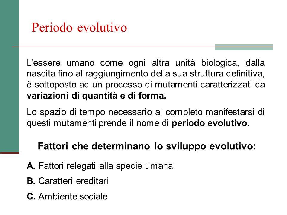 Periodo evolutivo Lessere umano come ogni altra unità biologica, dalla nascita fino al raggiungimento della sua struttura definitiva, è sottoposto ad