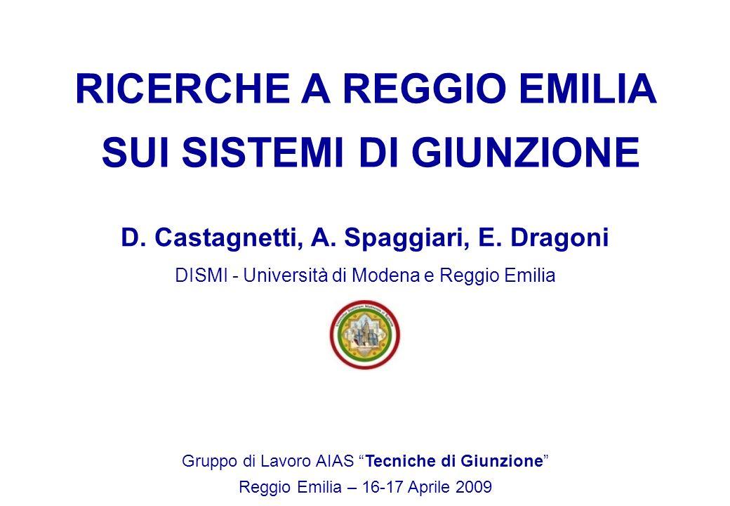 D. Castagnetti, A. Spaggiari, E. Dragoni DISMI - Università di Modena e Reggio Emilia Gruppo di Lavoro AIAS Tecniche di Giunzione Reggio Emilia – 16-1