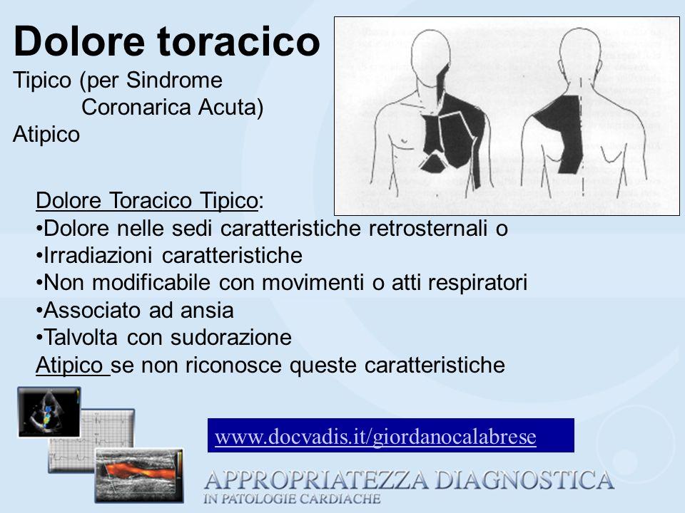 Dolore toracico Tipico (per Sindrome Coronarica Acuta) Atipico Dolore Toracico Tipico: Dolore nelle sedi caratteristiche retrosternali o Irradiazioni