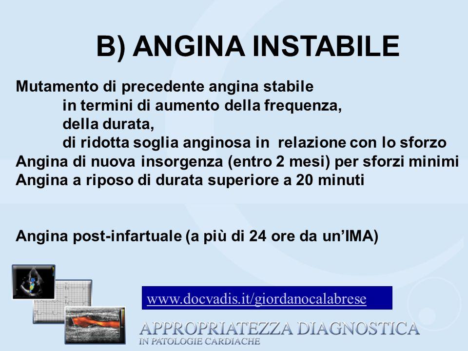 B) ANGINA INSTABILE Mutamento di precedente angina stabile in termini di aumento della frequenza, della durata, di ridotta soglia anginosa in relazion