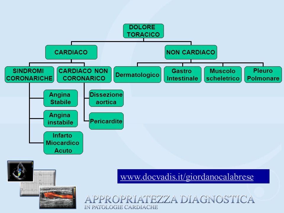PROBABILE DIAGNOSI DI CARDIOPATIA ISCHEMICA Lanalisi delle caratteristiche del dolore ed i sintomi associati possono orientare verso i quadri di: A) ANGINA PECTORIS STABILE B) ANGINA INSTABILE C) INFARTO ACUTO DEL MIOCARDIO www.docvadis.it/giordanocalabrese