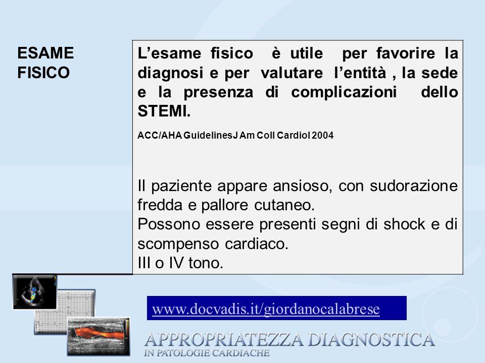ESAME FISICO Lesame fisico è utile per favorire la diagnosi e per valutare lentità, la sede e la presenza di complicazioni dello STEMI. ACC/AHA Guidel