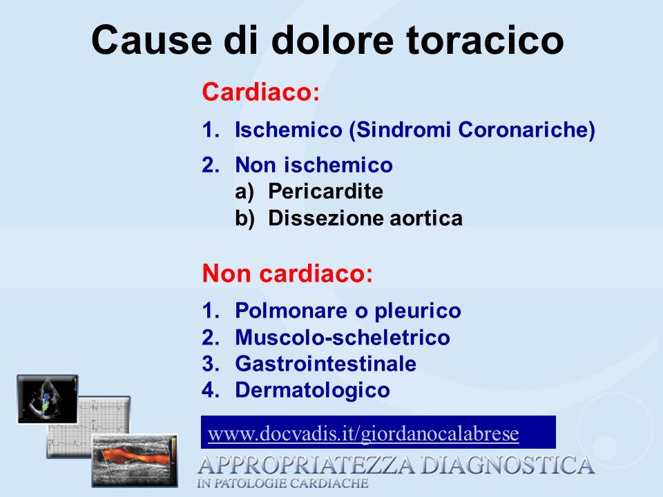 Cardiaco: 1.Ischemico (Sindromi Coronariche) 2.Non ischemico a)Pericardite b)Dissezione aortica Non cardiaco: 1.Polmonare o pleurico 2.Muscolo-schelet