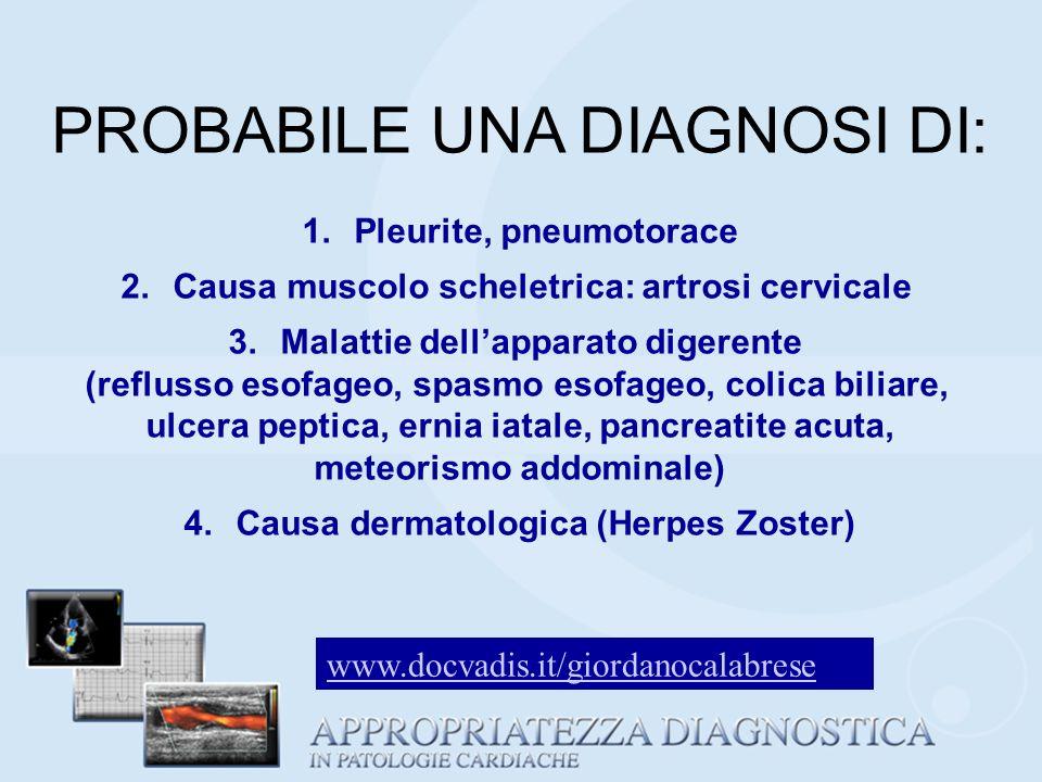 PROBABILE UNA DIAGNOSI DI: 1.Pleurite, pneumotorace 2.Causa muscolo scheletrica: artrosi cervicale 3.Malattie dellapparato digerente (reflusso esofage