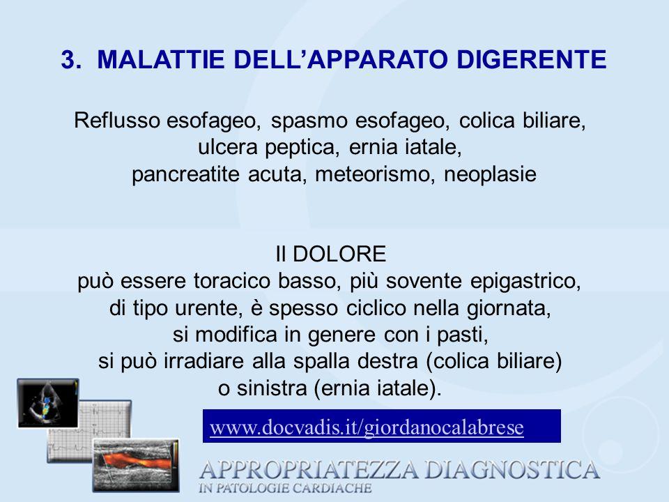 3. MALATTIE DELLAPPARATO DIGERENTE Reflusso esofageo, spasmo esofageo, colica biliare, ulcera peptica, ernia iatale, pancreatite acuta, meteorismo, ne