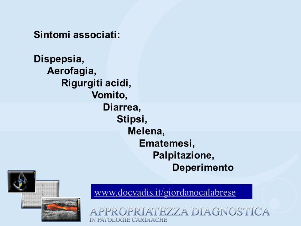 Sintomi associati: Dispepsia, Aerofagia, Rigurgiti acidi, Vomito, Diarrea, Stipsi, Melena, Ematemesi, Palpitazione, Deperimento www.docvadis.it/giorda