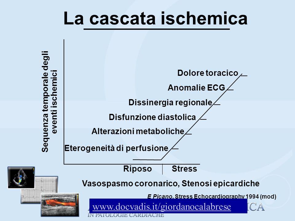La cascata ischemica Eterogeneità di perfusione Alterazioni metaboliche Disfunzione diastolica Dissinergia regionale Anomalie ECG Dolore toracico Ripo