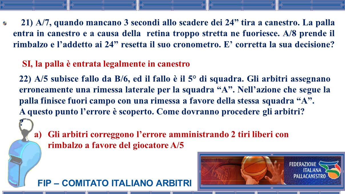 FIP – COMITATO ITALIANO ARBITRI 21) A/7, quando mancano 3 secondi allo scadere dei 24 tira a canestro. La palla entra in canestro e a causa della reti