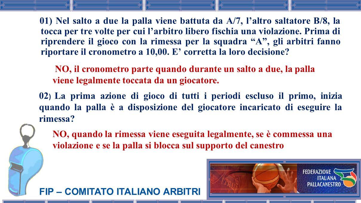 FIP – COMITATO ITALIANO ARBITRI 01) Nel salto a due la palla viene battuta da A/7, laltro saltatore B/8, la tocca per tre volte per cui larbitro liber