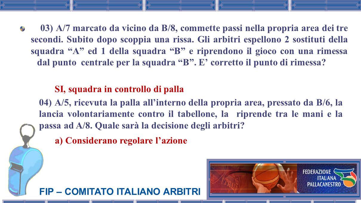 FIP – COMITATO ITALIANO ARBITRI 03) A/7 marcato da vicino da B/8, commette passi nella propria area dei tre secondi. Subito dopo scoppia una rissa. Gl