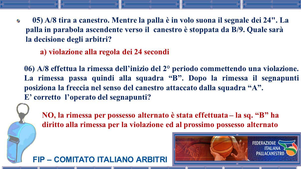 FIP – COMITATO ITALIANO ARBITRI 05) A/8 tira a canestro. Mentre la palla è in volo suona il segnale dei 24