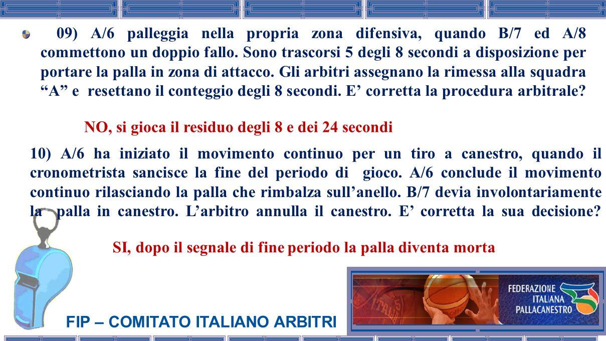 FIP – COMITATO ITALIANO ARBITRI 11) A/6 dopo aver realizzato un canestro allontana la palla; larbitro arresta il gioco ed effettua un richiamo per ritardo volontario allo stesso giocatore.
