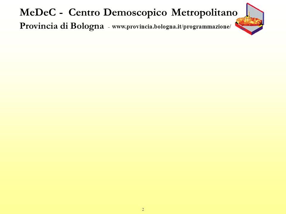 2 MeDeC - Centro Demoscopico Metropolitano Provincia di Bologna - www.provincia.bologna.it/programmazione/