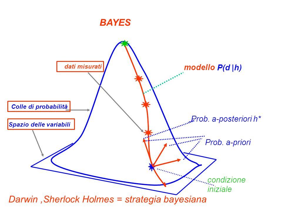 condizione iniziale Prob. a-posteriori h* Prob. a-priori modello Darwin,Sherlock Holmes = strategia bayesiana BAYES dati misurati P(d |h) Colle di pro