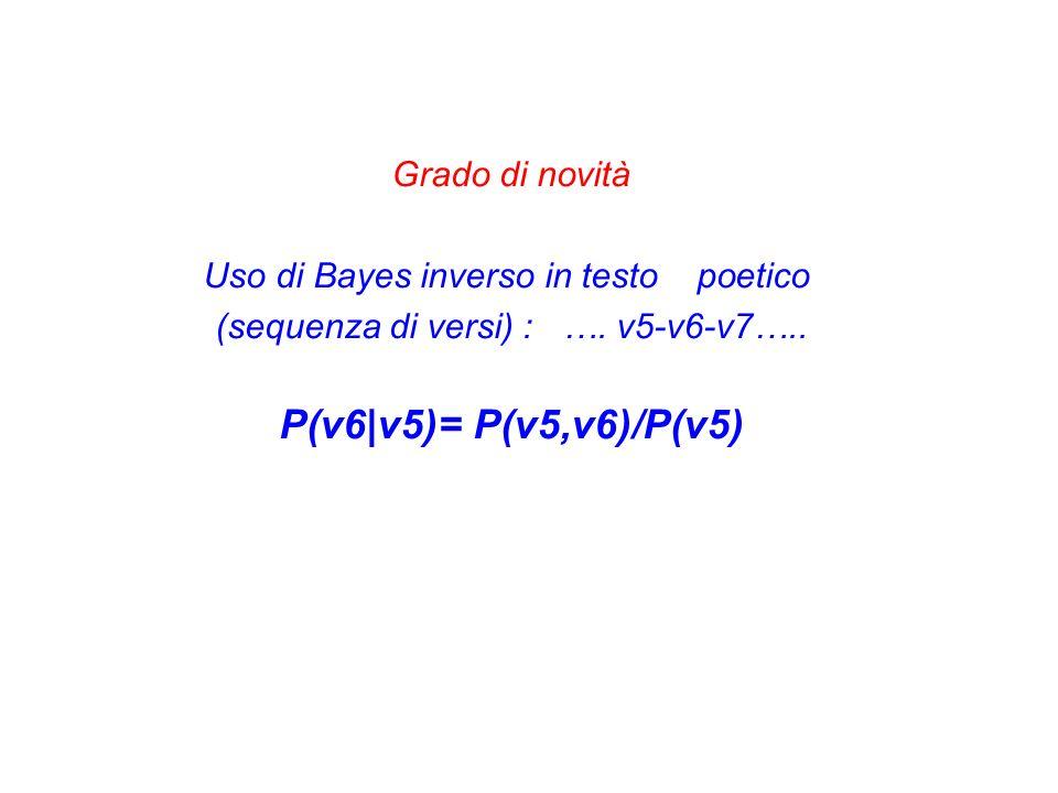 Grado di novità Uso di Bayes inverso in testo poetico (sequenza di versi) : …. v5-v6-v7….. P(v6|v5)= P(v5,v6)/P(v5)