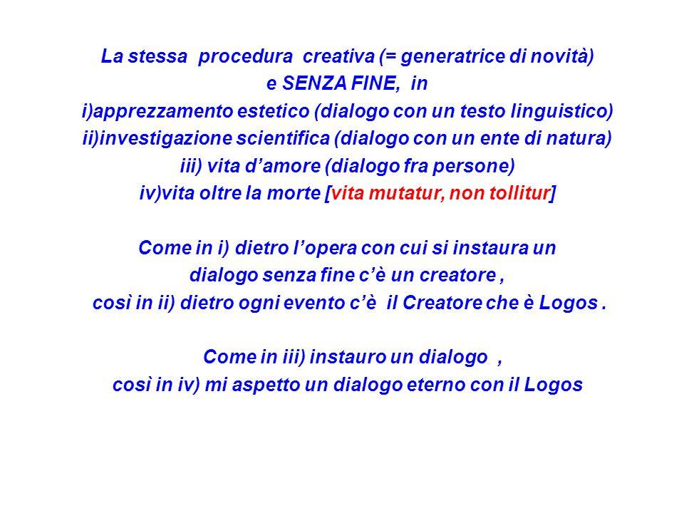 La stessa procedura creativa (= generatrice di novità) e SENZA FINE, in i)apprezzamento estetico (dialogo con un testo linguistico) ii)investigazione