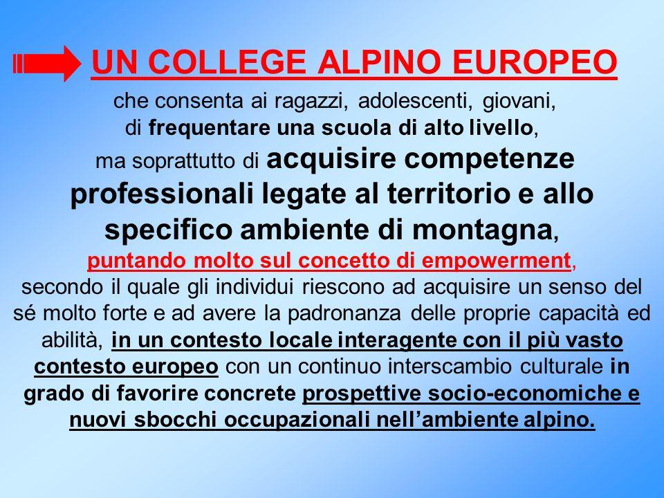 UN COLLEGE ALPINO EUROPEO che consenta ai ragazzi, adolescenti, giovani, di frequentare una scuola di alto livello, ma soprattutto di acquisire compet