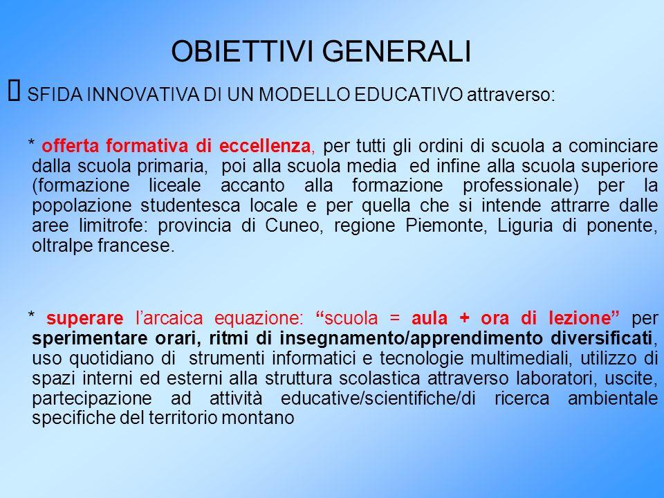 OBIETTIVI GENERALI SFIDA INNOVATIVA DI UN MODELLO EDUCATIVO attraverso: * offerta formativa di eccellenza, per tutti gli ordini di scuola a cominciare