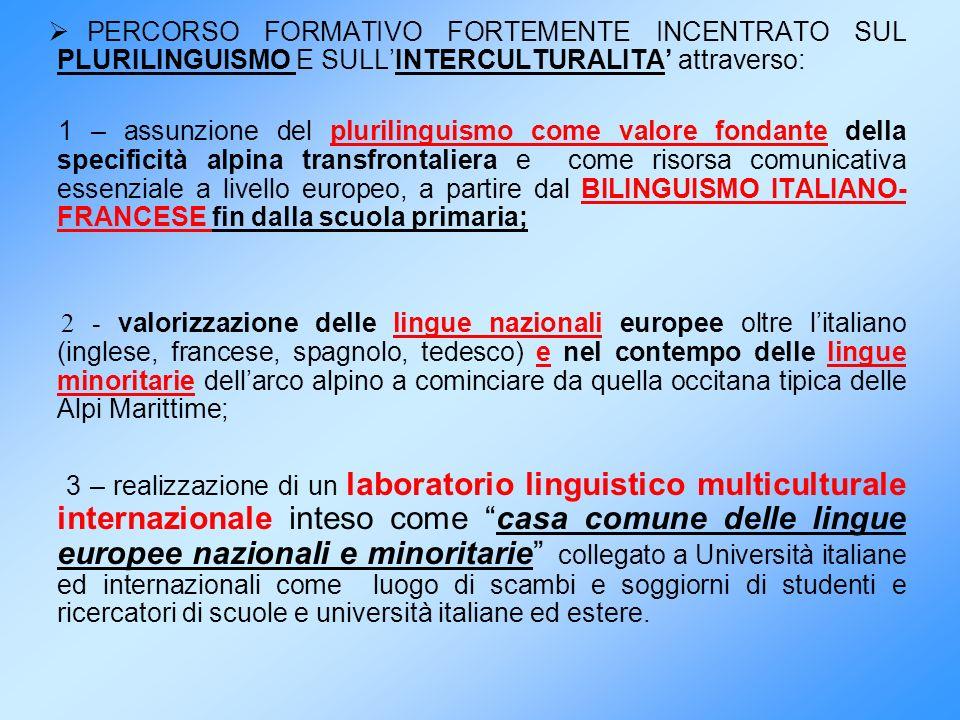 PERCORSO FORMATIVO FORTEMENTE INCENTRATO SUL PLURILINGUISMO E SULLINTERCULTURALITA attraverso: 1 – assunzione del plurilinguismo come valore fondante
