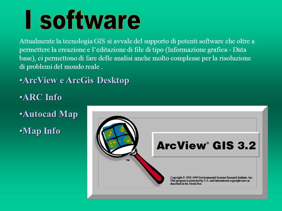 Attualmente la tecnologia GIS si avvale del supporto di potenti software che oltre a permettere la creazione e leditazione di file di tipo (Informazio