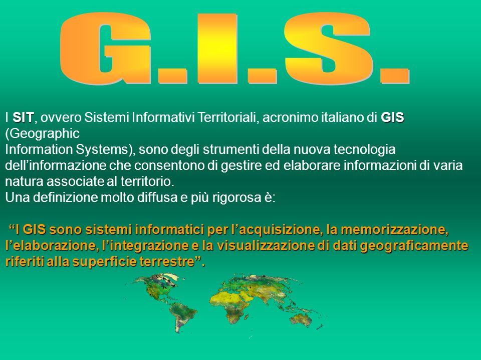 Più semplicemente, con la parola GIS si intende un sistema complesso di archivi che unisce i data base a rappresentazioni geografiche, essendo in grado di gestire in modo perfettamente integrato dati di tipo rasterraster vettorialivettoriali alfanumericialfanumerici