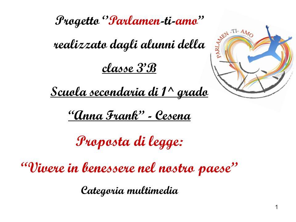 1 Progetto Parlamen-ti-amo realizzato dagli alunni della classe 3B Scuola secondaria di 1^ grado Anna Frank - Cesena Proposta di legge: Vivere in bene