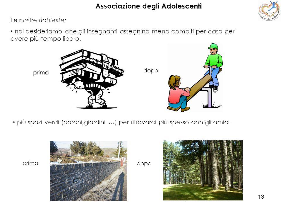 13 Associazione degli A AA Adolescenti Le nostre richieste: noi desideriamo che gli insegnanti assegnino meno compiti per casa per avere più tempo lib