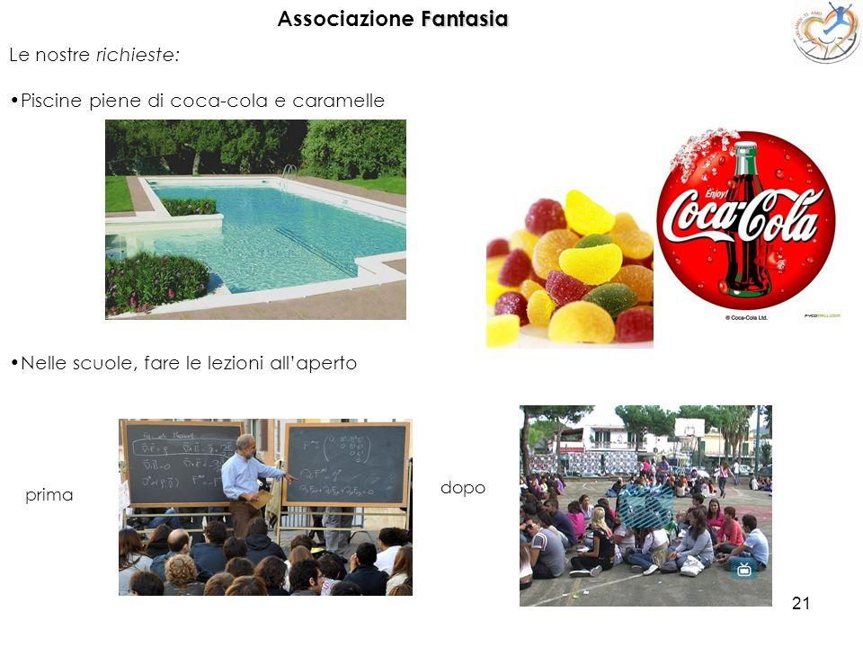21 Le nostre richieste: Piscine piene di coca-cola e caramelle Fantasia Associazione Fantasia Nelle scuole, fare le lezioni allaperto prima dopo