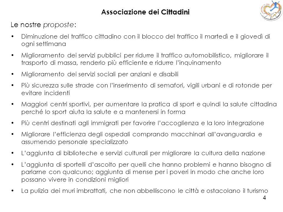 4 Associazione dei C CC Cittadini Le nostre proposte: Diminuzione del traffico cittadino con il blocco del traffico il martedì e il giovedì di ogni se