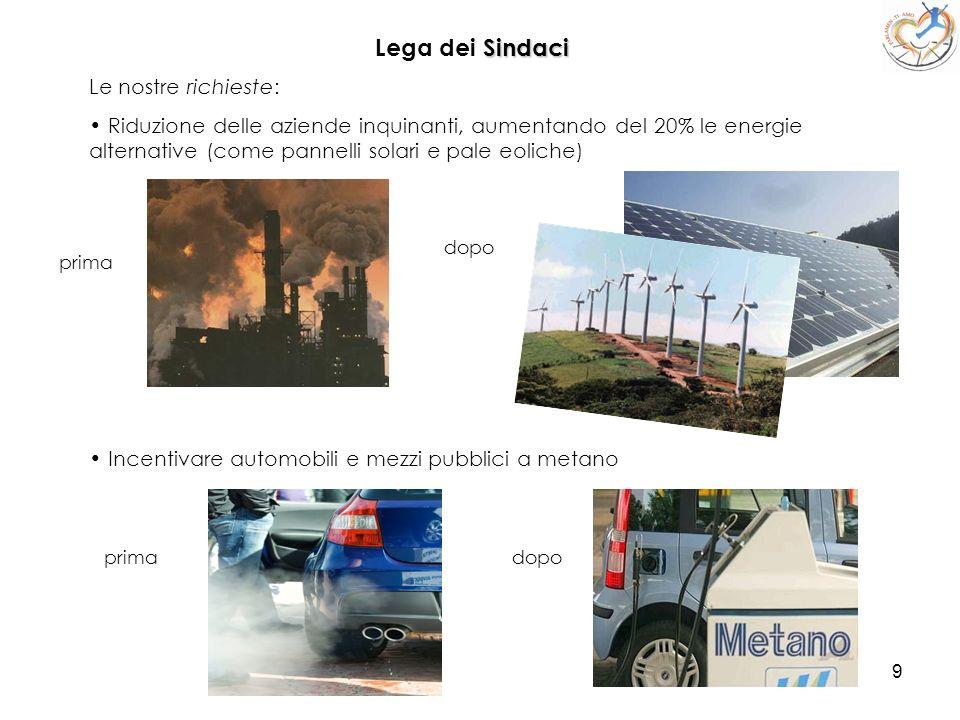 9 Lega dei S SS Sindaci Le nostre richieste: Riduzione delle aziende inquinanti, aumentando del 20% le energie alternative (come pannelli solari e pal