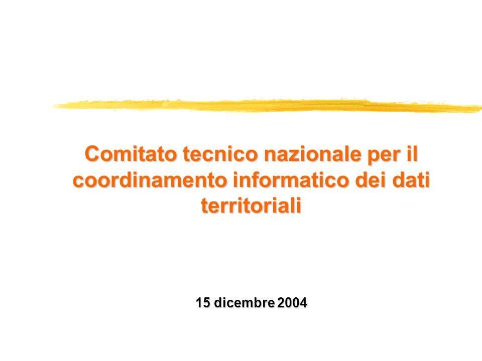 15 dicembre 2004 26 gennaio: il Ministro per lInnovazione firma il decreto istitutivo maggio-novembre: le amministrazioni indicano i propri rappresentanti 23 novembre: il Ministro per lInnovazione ne decreta la costituzione 15 dicembre: prima riunione del Comitato Il Comitato tecnico nazionale per il coordinamento informatico dei dati territoriali