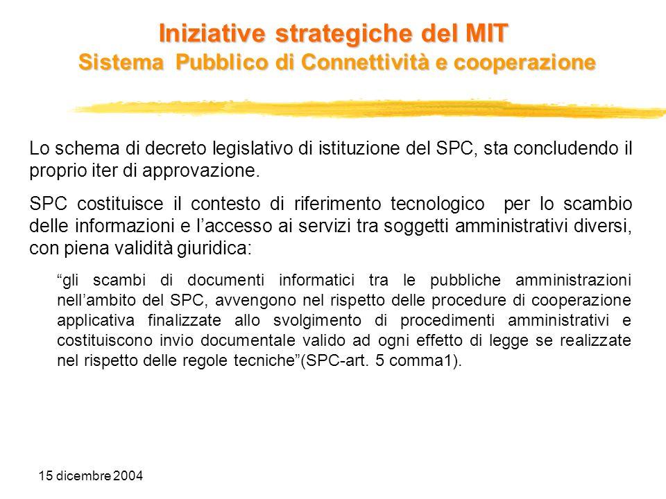 15 dicembre 2004 Iniziative strategiche del MIT Sistema Pubblico di Connettività e cooperazione Lo schema di decreto legislativo di istituzione del SP