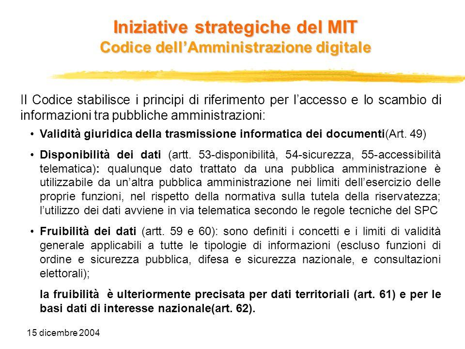 15 dicembre 2004 Il Codice stabilisce i principi di riferimento per laccesso e lo scambio di informazioni tra pubbliche amministrazioni: Validità giur